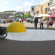 """Dutch artist Henk Hofstra installed his new environmental art project, titled """"Art Eggcident"""", in Leeuwarden, Netherlands. Several giant eggs (each 100 feet wide) were spread on the Zaailand, one of the largest city squares in the Netherlands."""