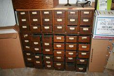 .vintage drawers Vintage Drawers, Old Drawers, Filing Cabinet, Locker Storage, Places, Home Decor, Old Dresser Drawers, Decoration Home, Vintage Drawer Pulls