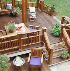 Really like the multi-level deck and the caps on the rail pillars. Maybe they're copper tops? I think I originally found this on Better Homes & Gardens
