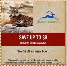 San Antonio Zoo coupons 2013