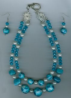 #Fashion jewellery  #N315  necklace set double strand  gemstone nuggets floral motif beads  pearls and crystals