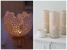 Using sugar starch, form doilies around a balloon. After it dries, pin prick balloon and remove and you have a doily bowl to hold tea lights. Would work great in different colours for a henna party!