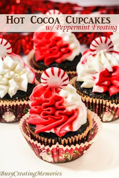 Delicious Hot Cocoa Cupcake with Peppermint Frosting, a chocolate base cupcake with peppermint infused frosting.