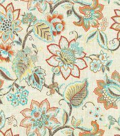Waverly Upholstery Fabric-Floral Fresh Flint
