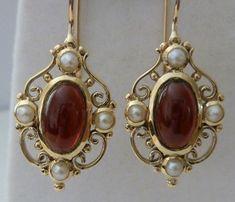 Gold Garnet Earrings, Vintage 9ct, 9k,10k E15, womens ladies filigree, pearl victorian, antique drop hook, gem, cabochon earrings