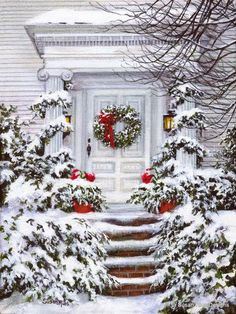 Christmas Front Porch Decorating Ideas to Make your home look like Christma. - Christmas Front Porch Decorating Ideas to Make your home look like Christmas Movies – Ethinify - Noel Christmas, Merry Little Christmas, Country Christmas, Christmas Pictures, All Things Christmas, Vintage Christmas, Xmas, Outdoor Christmas, Christmas Meals