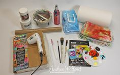 Art Journal Express Video Tutorial: Getting Started Art Journaling Part 1 Basic Tools & Supplies.  To watch the video and for information on the upcoming Art Journaling 101 class please sign up for the Paper Crafter's Library Newsletter (the site where I do all my online teaching) from my blog: http://andreawalford.com/art-journal-express-getting-started-art-journaling-part-1-basic-tools-and-supplies