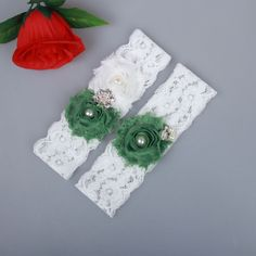 Green Shabby Flower Lace Wedding Bridal Garter Set Handmade With Pearl bead