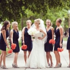 Navy + Neon Coral Wedding Color Palette to Adore. Photo by Fab Your Bliss.