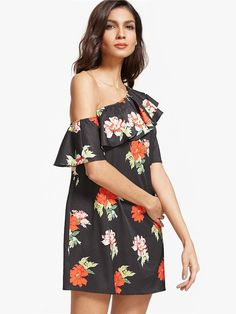 efe7bd5097f Off-shoulder Floral Print Flouncing Short Sleeve Mini Dress For Women