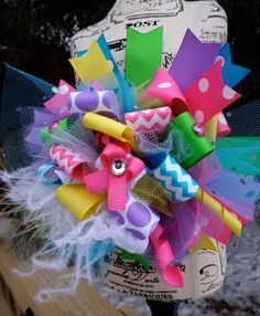 Funky Loopy Spring Colorful Chevron Polkadot Over The Top Boutique Hair Bow TOTT on Etsy, $13.99
