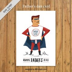 Hand painted super dad card Free Vector