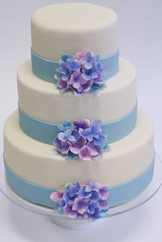"Blue Ribbon Hydrangea Cake...@the red stitch Rienzo this is so pretty and just screams ""you!"""