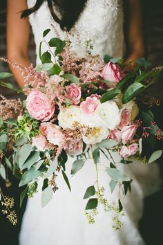 Pink and White Romantic Bouquet | French Buckets https://www.theknot.com/marketplace/french-buckets-costa-mesa-ca-579111 | Green Apple Event Co. | onelove photography https://www.theknot.com/marketplace/onelove-photography-danville-ca-223204