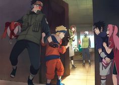 Obito Uchiha, Rin, Kakashi, team 7 :'( and omg I can see Minato and Kushina in there. Imagine if they were still alive how much happier Naruto would've been at that age. Naruto Team 7, Naruto Kakashi, Anime Naruto, Naruto Fan Art, Team Minato, Naruto Gaiden, Sarada Uchiha, Naruto Shippuden Anime, Gaara