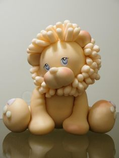 cute lion - great model for clay Polymer Clay Figures, Polymer Clay Animals, Fimo Clay, Polymer Clay Projects, Polymer Clay Creations, Polymer Clay Art, Lion Cakes, Fondant Animals, Fondant Cake Toppers