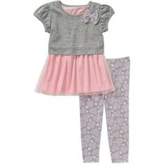 Healthtex Baby Toddler Girl Skirted Tunic and Leggings Outfit Set - Walmart.com