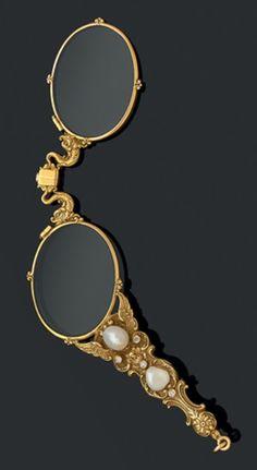 Antique diamond and pearl lorgnette, c-1900