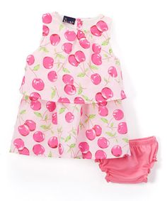 Love this Pink & White Cherries Tiered Dress & Bloomers - Infant on #zulily! #zulilyfinds