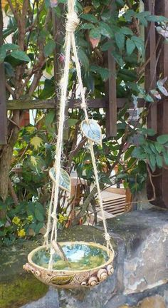pottery *bird bath* with leafs...want it for my garden <3 More