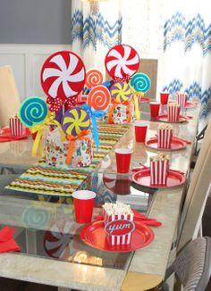 Candy Party, centerpieces, tablescape Mybirthdaybundle.com