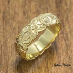 Gold wedding Ring Set of Traditional Hawaiian Hand Engraved 14k Yellow Gold Barrel Rings (4mm & 6mm width)