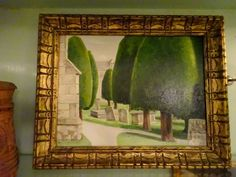 Unusual Oil Painting on Board Churchyard with Cypresses & Tombstones  Signed #Unusual