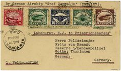 """World round flight 1929 - american post (Sieger 28), airmail 1923 complete together with 6 C. and 16 C. airmail 1918 on superb postcard """"LAKEHURST - FRIEDRICHSHAFEN"""", handing in for transport New York 30. 8. the return flight from Lakehurst was from the US postal service no more than world round flight treats and got therefore no confirmation stamp, signed G. Röhrl"""
