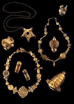 Africa | Akan regalia; 3 necklace, 4 rings and two hair decoration pieces (or are they beads?). Ghana and the Ivory Coast | Gold content ranges from 4.5 to 23k