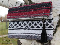 Foldover Clutch Tutorial from a thrift store blanket | the Renegade Seamstress