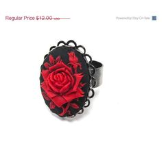 Gothic Red Rose Cameo Ring - Red and Black Goth Rose Ring - Dark... (17 NZD) ❤ liked on Polyvore featuring jewelry, rings, victorian cameo ring, black and red ring, rose ring, rose flower ring and band rings
