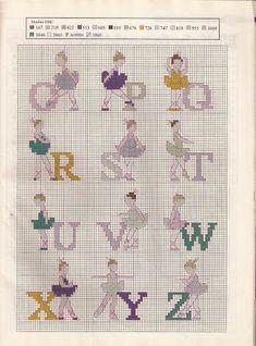 Alphabet with dancers cross stitch Cross Stitch Designs, Cross Stitch Patterns, Crochet Patterns, Images Aléatoires, Cross Stitch Alphabet, C2c, Kids Rugs, Knitting, Ballet