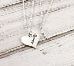 Heart and key - Mother and daughter necklace set - Sterling silver necklace set - Mom and Daughter Jewelry - Gift for mom - Mother's Day Mother Daughter Jewelry, Daughter Necklace, Mother Necklace, Couple Necklaces, Friend Necklaces, Heart Pendant Necklace, Necklace Set, Gold Necklace, Jewelry Gifts