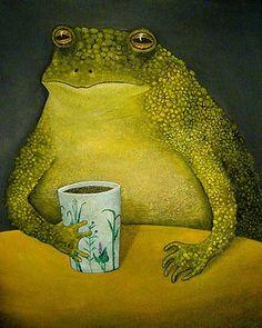 frog having a glass of tea