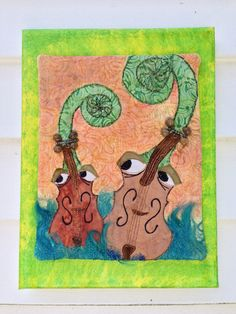 fiddleheads playing in blue grass   quilted by Quiltedfabricart, $45.00