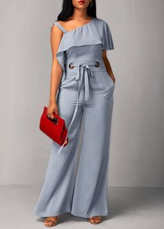 Ruffle Overlay High Waist Light Blue Jumpsuit Material :Polyester Pattern Type :Solid Fit Type :Straight Package Contents : 1 x Jumpsuit, 1 x Belt, Without Accessories Blue Jumpsuits, Jumpsuits For Women, Cool Outfits, Casual Outfits, Casual Wear, Timeless Fashion, African Fashion, Fitness Fashion, Plus Size Fashion