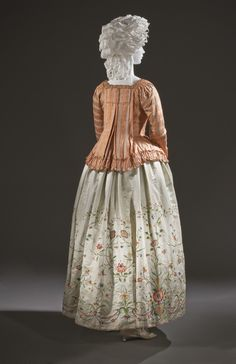 FCBTC / ca. 1760-80. Woman's Jacket (Caraco) (altered circa 1780) and Petitcoat. Europe. Costumes; principal attire (upper body). Silk plain weave with supplementary warp patterning. Jacket center back length: 19 in. (48.26 cm)