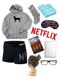 gn yall! by anabelkd ❤ liked on Polyvore featuring NIKE, Lands End and Ray-Ban