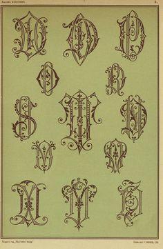 1875г Monogram Design, Monogram Fonts, Monogram Initials, Vintage Monogram, Stationery Paper, Illuminated Letters, Vintage Ephemera, Letters And Numbers, Letterpress