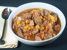 This wonderful Mexican-style stew is made with boneless pork ribs are slow cooked with onions, tomatoes, hominy, chili powder, and oregano.