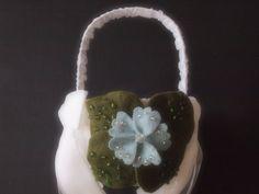 Flower Girl Basket Wedding White Blue Green 70 flower & leaf colors & 44 glass bead colors  by ArtisanFeltStudio, $30.00