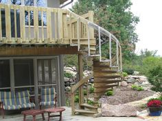wooden spiral staircase for deck
