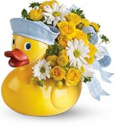 Ducky Delight - Girl This adorable arrangement takes to baby showers and baby arrivals like a duck takes to water! Available in boy and girl versions, this charming arrangement in its cute and reusable keepsake container is, well… just ducky! New Baby Flowers, Flowers Today, Flowers Online, Send Flowers, Fresh Flowers, Morning Flowers, Bright Flowers, Arreglos Ikebana, Enchanted Florist