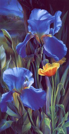lrsDunn-HarrVicBlueIrises - Flower Paintings by Vie Dunn-Harr  <3 <3