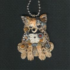 Steampunk Long Haired Chihuahua Necklace Polymer by freeheart1, $24.00