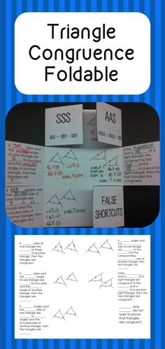 Triangle Congruence Foldable - great for interactive notebooks