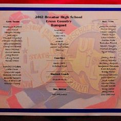Our beautiful program! Under the writing are our boys 1st in the state medal and the girls 3rd in the state medal.