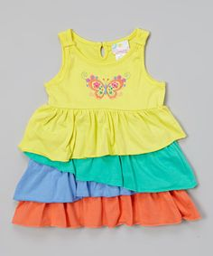 Loving this Yellow Butterfly Ruffle Dress - Infant & Toddler on #zulily! #zulilyfinds
