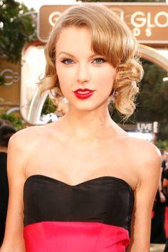 Taylor Swift. #casamento #penteados #convidadas #famosas #GlobosdeOuro2014