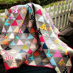 Finished triangle quilt. I could not be happier with how this quilt turned out. #trianglequiltalong by bethirish62, via Flickr